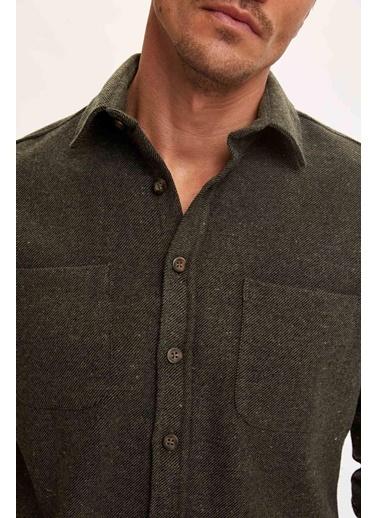 DeFacto Modern Fit Uzun Kolu Oduncu Gömlek Yeşil